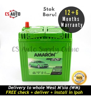 Amaron Go NS40ZL Car Battery MF NS40 for Perodua Myvi, Viva, Alza and Honda City