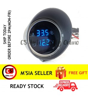 "Car Truck 2 in 1 Digital Water Temperature Gauge VoltMeter 2"" Lcd Blue Display 12V 24V Round 10mm 16mm sensor"