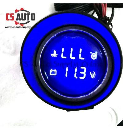 "Car Truck 2 in 1 Digital Water Temperature Gauge VoltMeter 2"" Lcd Blue Display 12V 24V Round 10mm 16mm sensor"