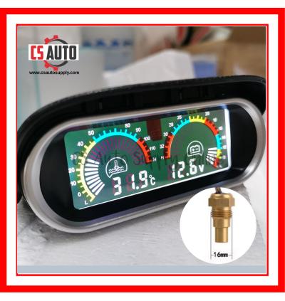 Car Truck Lorry Digital Water Temperature Gauge Voltmeter Meter Lcd Display 12V 24V High Accuracy 10mm, 12mm, 14mm, 16mm, 17mm, 21mm sensor 0-120℃ Horizontal 2 in 1