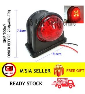 24V 8 LED IP65 Trailer Side Marker Light Lamp Rubber Red + White Trailer Truck Lorry