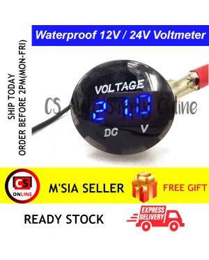 Waterproof Digital Voltmeter Voltage Meter Diameter 28mm Black Blue