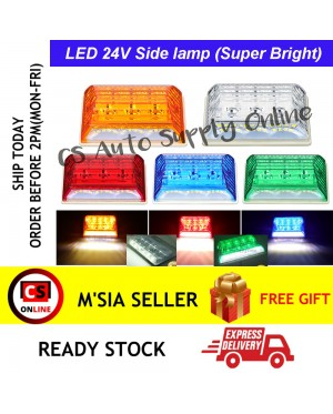 LED 24V 20smd Side Lamp Lorry Truck Trailer Marker Parking Light Bright White Red Yellow Green Blue