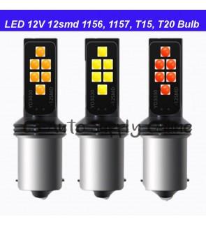 Led 12V 12SMD 3030 Automotive Bulb Reverse Brake Signal Rear Light Super Bright 1200LM 1pc